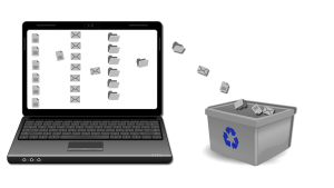 a laptop with a picture of emails sent to a recycle bin
