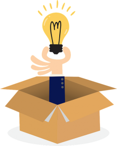 A drawing of a hand sticking out of a box, holding a lightbulb.